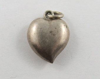 Puffed Heart Sterling Silver Vintage Charm For Bracelet