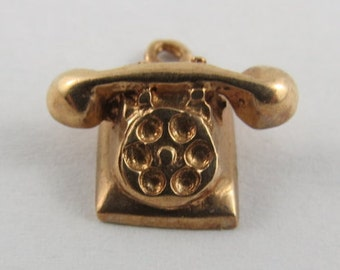 Rotary Dial Telephone 14K Gold VintageCharm For Bracelet
