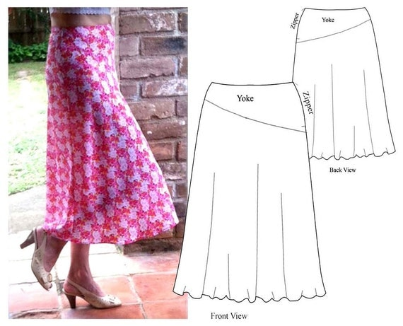 A Line Skirt With Asymmetric Yoke Pdf Sewing By Homeatelier