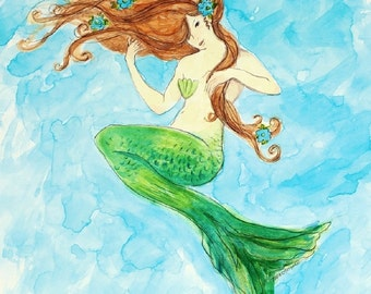 "Mermaid Print, girl, beach art, nautical, shabby chic, coastal, Red Headed Mermaid 11"" x 14"" print, from original watercolor by Tina O'Brien"