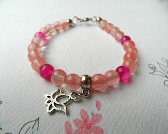 Cherry quartz bracelet, deep pink agate bracelet, agate and quartz beads bracelet, lotus flower bracelet, pink bracelet, zen bracelet