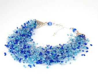 Blue Shiny Airy Crochet Necklace , Soft Blue Illusion Necklace , Bead Work , Beaded Multistrand Necklace , Blue Airy Crocheted Necklace