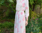 Vintage 1960s White and Pink Floral Sheer Lace Long Poet Sleeves Cotton Formal Evening Victorian Mod Groovy Retro Maxi Dress Gown XS