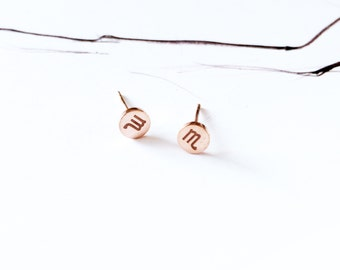 Scorpio Earring 18K Rose Gold Horoscope Stud Earring Star Sign Earring Simple Everyday Earring Birthday Gift Horoscope Astrology Earring