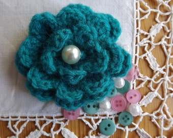 Crochet Flower Brooch. Turquoise Flower Brooch Pin. Flower Corsage.