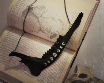 Witchy Jaw Necklace, Jawbone Necklace, Bone Jewelry, Bone Necklace, Moon Phases, Oddities, Oddities Necklace, Curiosities, Vulture Culture