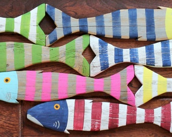 INDIVIDUAL - Wooden Fish Nautical Fish Decor - Reclaimed Fish - Reclaimed Picket Fence Fish