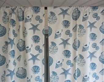 PAIR of window curtains window panels modern curtains beach curtains nautical decor coastal window drapery room decor