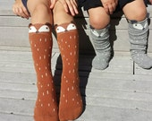 Fox socks, knee high socks, boot socks, girls socks, kids accessories, boys socks, baby leg warmers