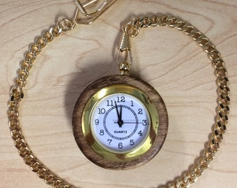 Handmade Wood-Cased Pocket Watch