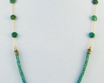 Tubular Herringbone Long Turquoise Necklace