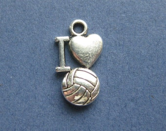 10 I Love Volleyball Charms - I Love Volleyball Pendant - Volleyball - Sports - Antique Silver- 16mm x 9mm. -- (No.53-10285)