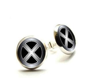 X men superhero - Silver Stud Earrings - Hypoallergenic Earrings