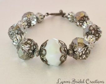 Grey Crystal Bracelet White Crystal Jewelry Vintage Bridesmaid Gift Mother of the Bride Gothic Wedding Bracelet Vintage Crystal Bracelet