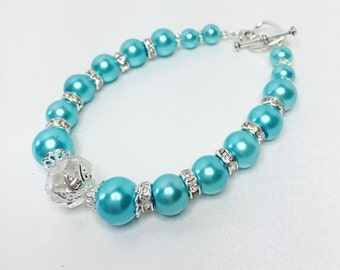 Turquoise Pearl Bracelet Crystal Bracelet Jewelry Set Wedding Jewelry Bridesmaid Gift Blue Bracelet Mother of the Bride Gift Crystal Jewelry