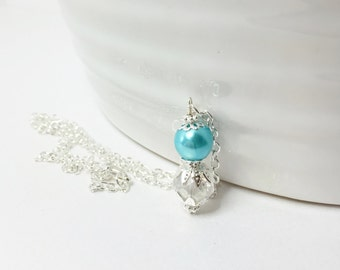 Turquoise Pendant Necklace Turquoise Pearl Jewelry Bridesmaid Necklace Mother of the Bride Necklace Crystal Necklace Jewelry Set Handmade