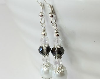 Pearl Drop Earrings Bridesmaid Earring Black Crystal Dangles Mother of the Bride Gothic Wedding Gift Vintage Wedding White Pearl Jewelry