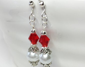 Vintage Drop Earrings Bridesmaid Earrings Red Crystal Earrings Wedding Jewelry Mother of the Bride Gift Crystal Jewelry White Pearl Earrings