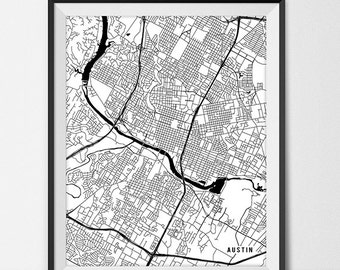Austin Map Print, Austin Poster of Texas Map of Austin Print Gift Austin Texas Art TX University Art Poster College Dorm Room Art