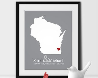 Wisconsin Map Art, Milwaukee Wisconsin Wedding Gift for Couples Wedding Gift for Anniversary Gift for Him Wisconsin Gift -Any STATE