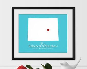 Wyoming Map Art, Casper Wyoming Wedding Gift Wyoming Gift State Map -Any STATE