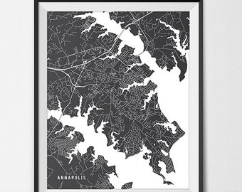 Annapolis Map Print, Annapolis Poster of Maryland Map of Annapolis Print Gift Annapolis Maryland Art, United States Navy Academy Art Poster
