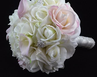 Pink and White Real Touch Silk Flower Wedding Bouquet with Boutonniere-Rose and Calla Lily Bridal Bouquet