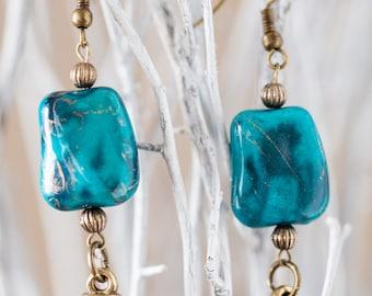 Bronze Spike Earrings//Aqua Stone and Spike Earrings//Teal and Bronze