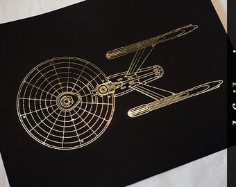 U.S.S. Enterprise - Star Trek - Gold Foil Print