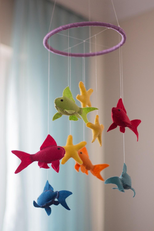 Fish Baby Mobile Fish Nursery Mobile Felt Nursery Mobile