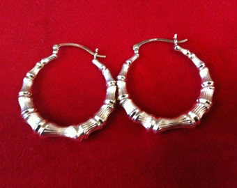 14 k Yellow Gold Beautiful Bamboo  Hoops Earrings 3.6 Gm, Free Shipping.