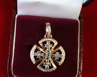 14 K Yellow Gold Charm With 37 Diamonds and 16 Small Aquamarines Plus 1 Medium Center Aqua. 3.5 Gm. Free Shipping.