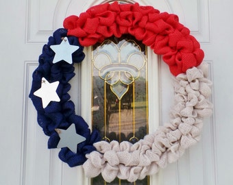 """19"""" Star Spangled Red, White and Blue Patriotic Burlap Wreath"""