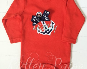 Baby girl nautical etsy anchor personalize bodysuit nautical red bodysuit monogram anchor baby girl nautical baby gift negle Choice Image
