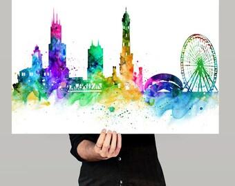 Chicago Skyline, Chicago Cityscape, Chicago Print, Watercolor Art, Watercolor Painting,Chicago City Art, Map Poster, Skyline Art(119)