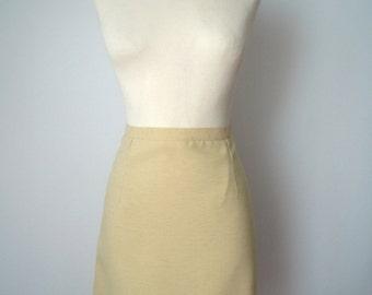 Vintage 60s Pencil Skirt | 60s Mini  Pencil Skirt | 60s High Waist Skirt | Yellow Pencil Skirt | Pencil Skirt M Medium