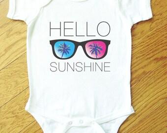 Hello Sunshine Sunglasses Palm Tree Onesie