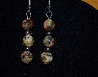 Marbled beads and Hematite