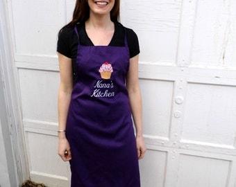 Nana Apron - Grandma Apron -  Cupcake Apron - Embroidered andPersonalized Apron - Kitchen Apron -- Women's Apron -