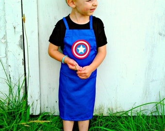 Kids Captain America inspired Apron - Small or Medium