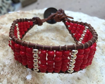 Beaded Red & Silver Single Wrap with Brown Leather