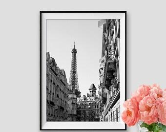 Eiffel tower Print Paris Photography Black and White Paris Decor Instant Download Paris Wall Art Eiffel Tower Paris Poster