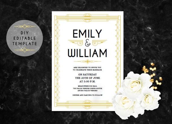 Great Gatsby Wedding Invitation: Great Gatsby Wedding Invitation. Wedding Invitation Template