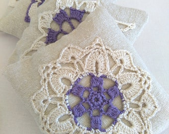 Lavender sachets set of 2 wedding favors-crochet sachet lavander