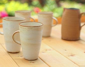 Ceramic Coffee Mug, White Coffee Mug, Large Coffee Mug, Tall Coffee mug, Large Tea Mug, Large Tea Cup, pottery mug, handmade coffee mug,