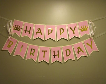Pink and Gold Happy Birthday Banner Princess Banner 1st Birthday Party