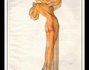 George Petty Illustration Playboy Vintage Pinup February 1995 Pinup Mature Wall Art Deco Print