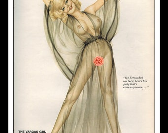 """Vargas Playboy Pinup Girl Vintage January 1974 """"New Year's Party"""" Sexy Blonde Nude Double Sided Black Negligee Mature Wall Art Deco Print"""