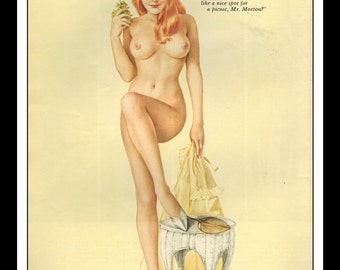 "Vargas Playboy Pinup Girl Vintage July 1968 ""Picnic"" Sexy Redhead Nude Mature Pinup Wall Art Deco Print"