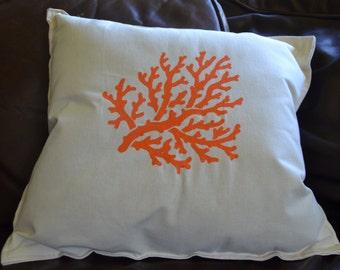 Nautical Pillow Coral Orange Ocean Seaside Beach Decor